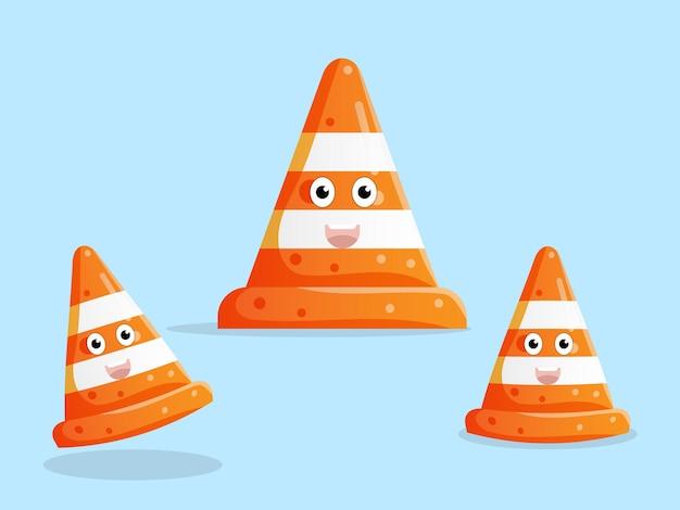 Ilustración de diseño plano de personaje de dibujos animados lindo cono de tráfico