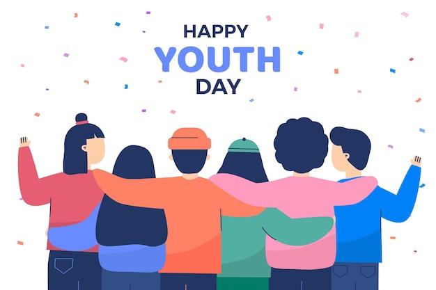 Ilustración de diseño plano de personas celebrando el día de la juventud