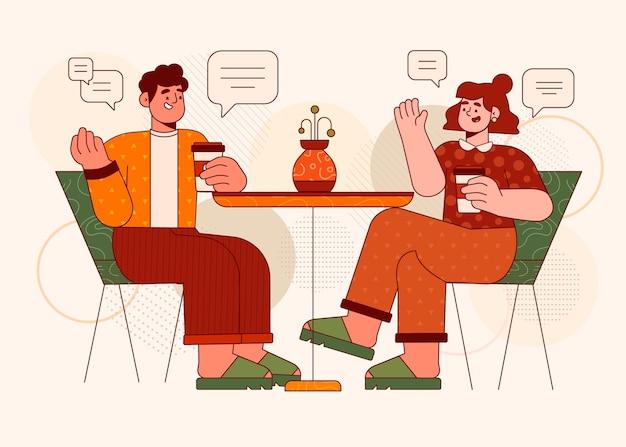 Ilustración de diseño plano personas hablando