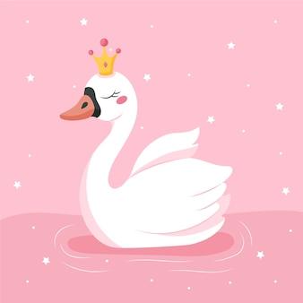 Ilustración de diseño plano princesa cisne con destellos