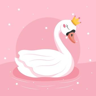 Ilustración de diseño plano princesa cisne