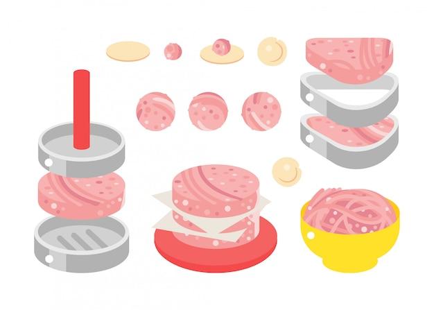 Ilustración de diseño plano de productos cárnicos