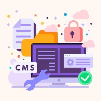 Ilustración de diseño plano del sistema de gestión de contenido