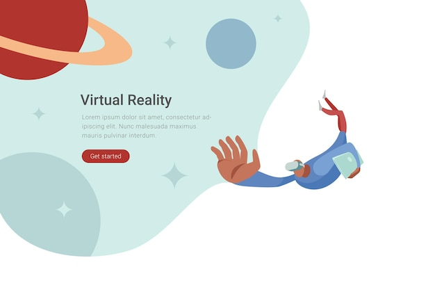 Ilustración de diseño plano de tecnología vr hombre en gafas virtuales volando en el espacio con planetas