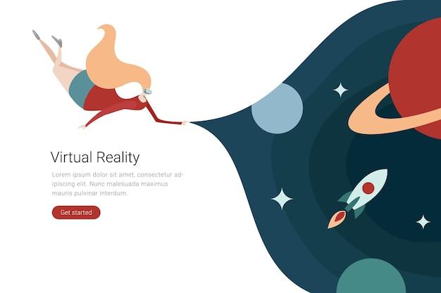 Ilustración de diseño plano de tecnología vr mujer en gafas virtuales en el espacio con planetas