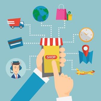 Ilustración de diseño plano de vector de compras en línea.