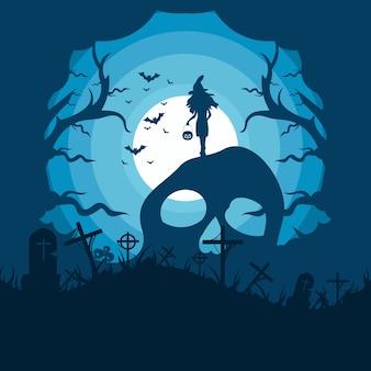 Ilustración de diseño de plantilla de hallowen feliz Vector Premium