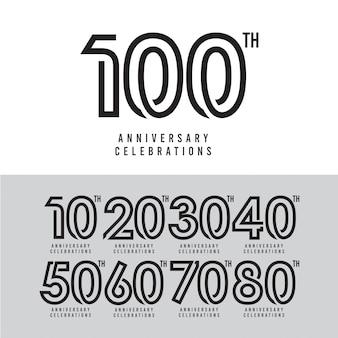 Ilustración de diseño de plantilla de vector de celebración de 100 aniversario