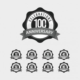 Ilustración de diseño de plantillas vectoriales de celebraciones del 100 aniversario