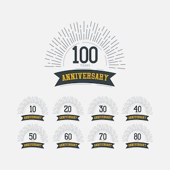 Ilustración de diseño de plantillas vectoriales de celebraciones de aniversario de 100 años