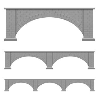 Ilustración de diseño de puente de piedra aislado sobre fondo blanco.