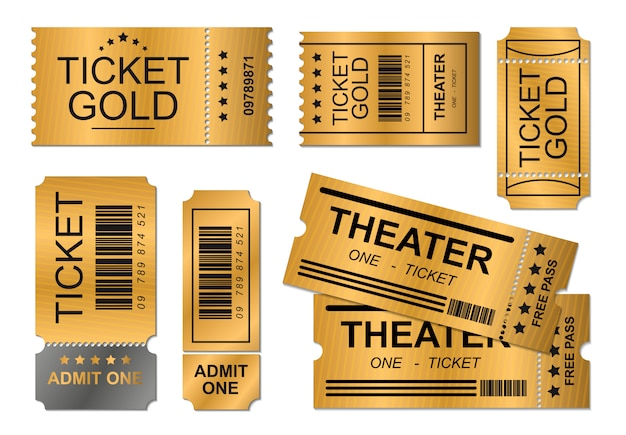 Ilustración de diseño realista de oro de cupón de boleto, plantilla de negocio de cine de evento, diseño de plantilla fondo de permiso de concepto simple