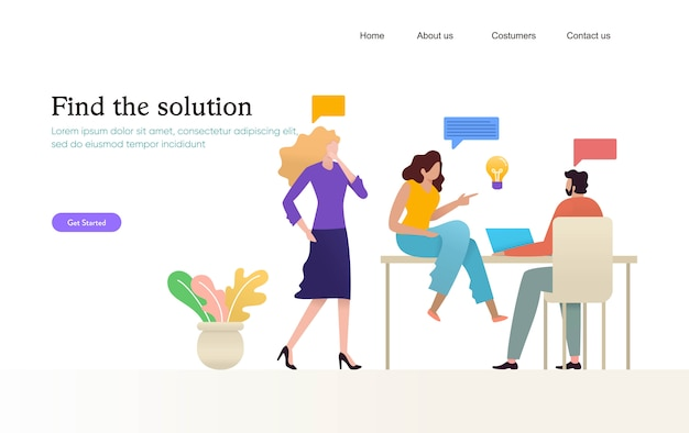 Ilustración de diseño de reunión de gente de negocios, grupo de jóvenes conversando en coworking,