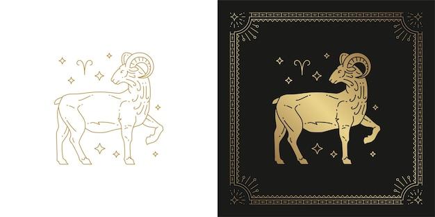 Ilustración de diseño de silueta de arte de línea de signo de horóscopo aries del zodiaco
