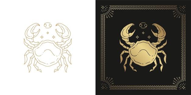 Ilustración de diseño de silueta de arte de línea de signo de horóscopo cáncer zodiaco