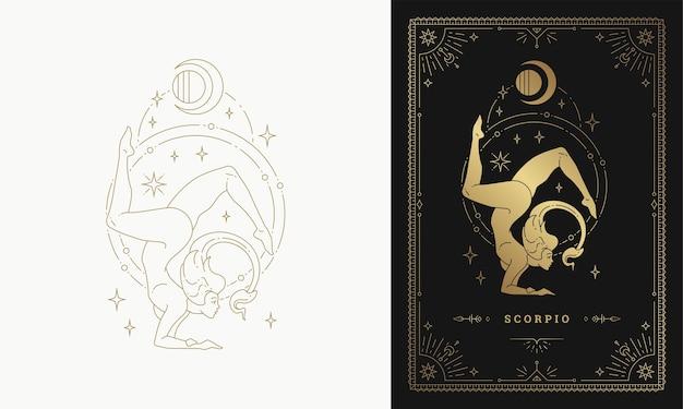 Ilustración de diseño de silueta de arte de línea de signo de horóscopo de carácter de niña de escorpio del zodiaco