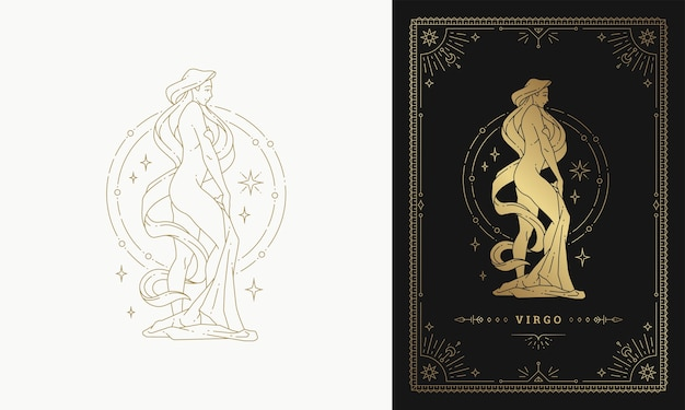 Ilustración de diseño de silueta de arte de línea de signo de horóscopo de carácter de niña de virgo del zodiaco