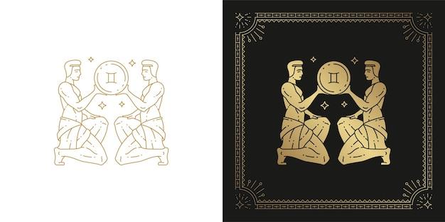 Ilustración de diseño de silueta de arte de línea de signo de horóscopo de géminis del zodíaco