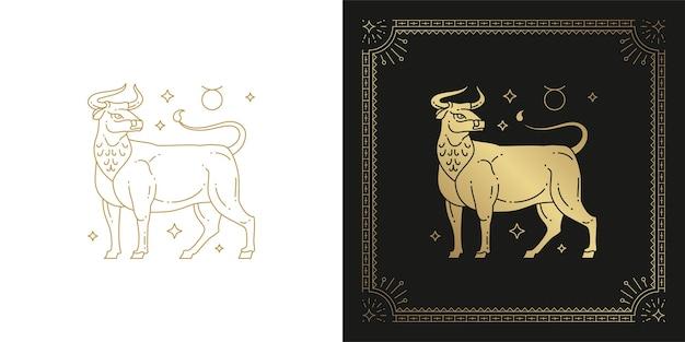 Ilustración de diseño de silueta de arte de línea de signo de horóscopo tauro zodiaco