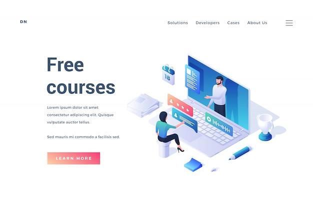 Ilustración del diseño de un sitio web moderno con una persona isométrica que estudia en línea sobre la fuente de cursos gratuitos aislados sobre fondo blanco