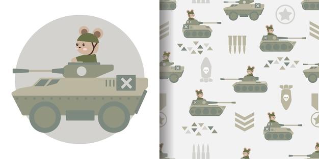 Ilustración de diseño de superficie de impresión de patrones sin fisuras de dibujos animados militar lindo