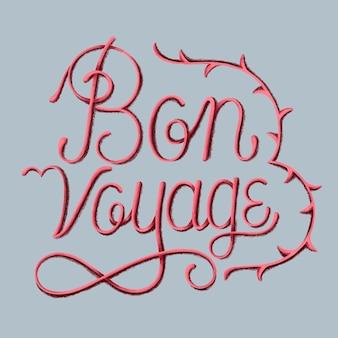 Ilustración de diseño de tipografía bon voyage