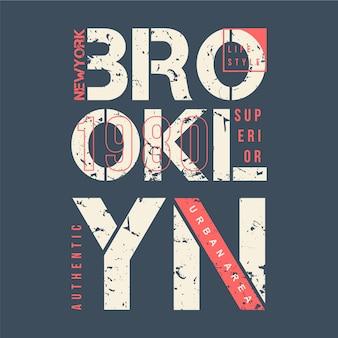 Ilustración de diseño de tipografía gráfica de área urbana de brooklyn