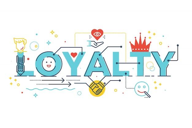 Ilustración de diseño de tipografía de letras de palabra lealtad con iconos de línea y adornos en blu