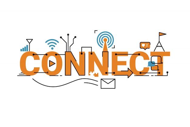 Ilustración de diseño de tipografía de palabra de conexión en tema naranja con elementos de ornamento de icono