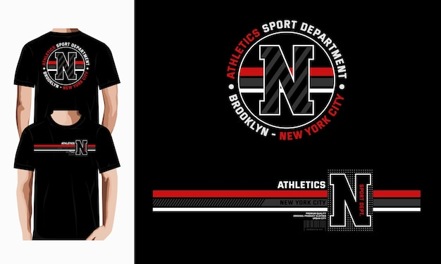 Ilustración de diseño de vector de camiseta de tipografía gráfica de departamento atlético de brooklyn vector premium