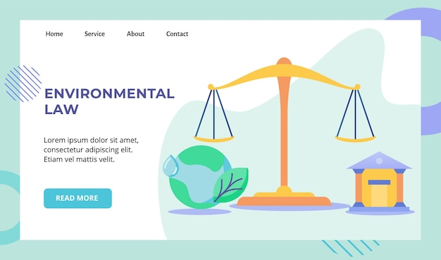 Ilustración de diseño de vector de campaña de tierra de tribunal de igual escala de ley ambiental