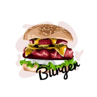 Ilustración de diseño de vector de hamburguesa
