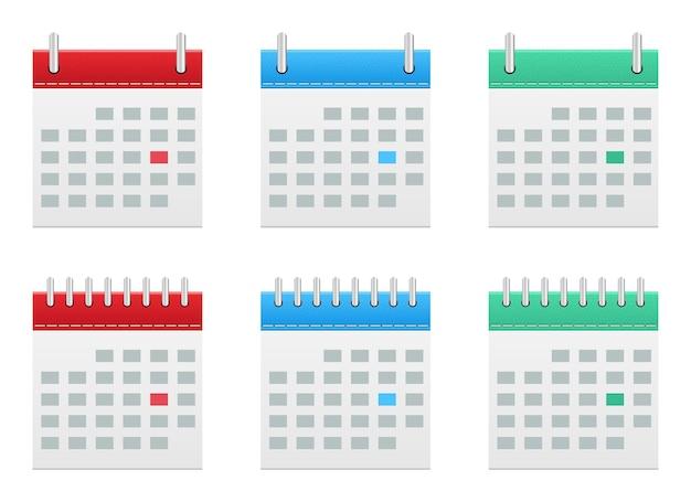 Ilustración de diseño de vector de iconos de calendario aislado sobre fondo blanco