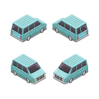 Ilustración del diseño del vector isométrico del coche de la furgoneta