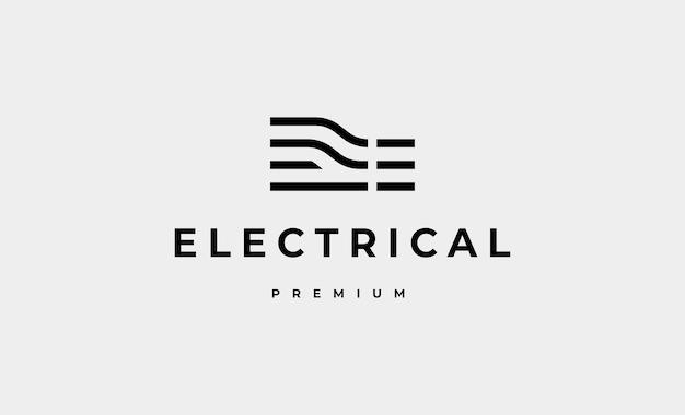 Ilustración de diseño de vector de logotipo de circuito eléctrico de letra e