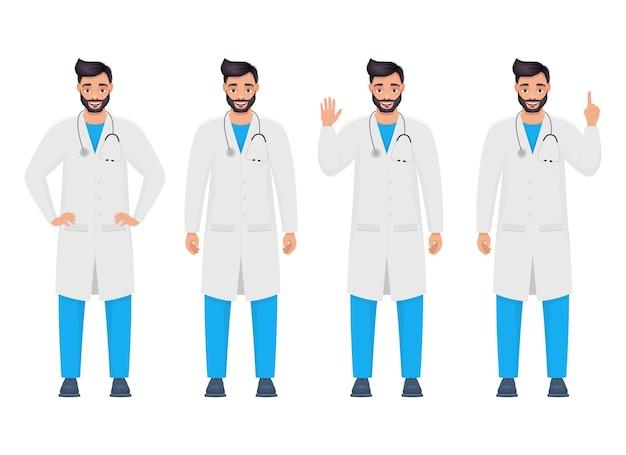 Ilustración de diseño de vector de médico hombre aislado sobre fondo blanco