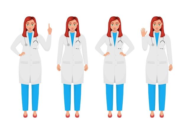 Ilustración de diseño de vector de médico de mujer aislada sobre fondo blanco