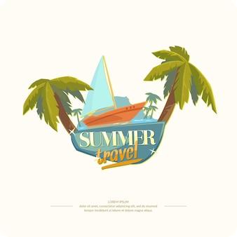 Ilustración para el diseño de viajes de verano.