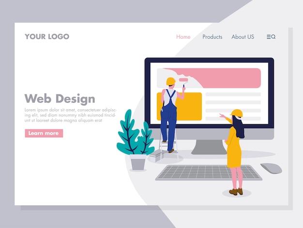 Ilustración de diseño web para la página de inicio