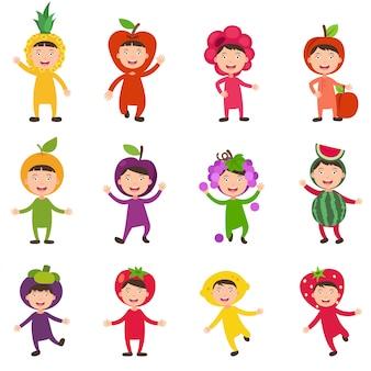 Ilustración de disfraces conjunto aislado frutas niños sobre fondo blanco.