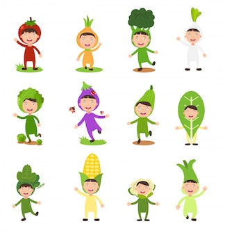 Ilustración de disfraces conjunto aislado niños vegetales sobre fondo blanco.