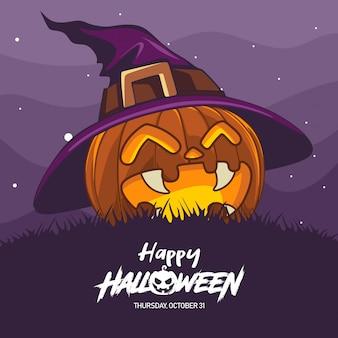 Ilustración de disfraz de bruja de halloween