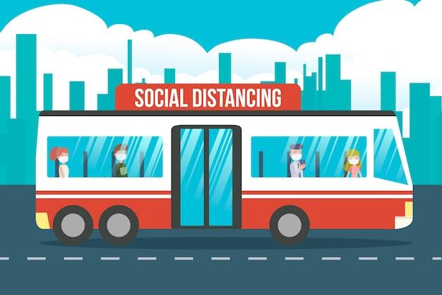 Ilustración del distanciamiento social en el transporte público.