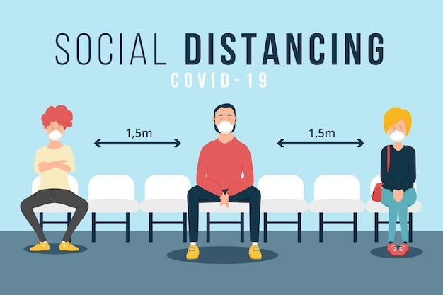 Ilustración de distanciamiento social