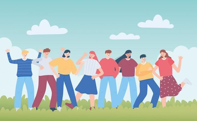 Ilustración diversa del grupo de personas amigo