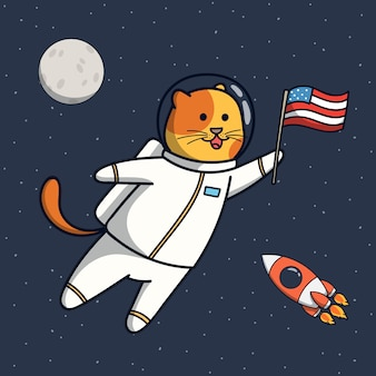 Ilustración divertida del astronauta del gato con la bandera de estados unidos