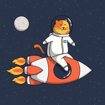 Ilustración divertida del astronauta del gato monta un cohete espacial