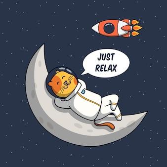 Ilustración divertida del astronauta del gato relajarse en la luna