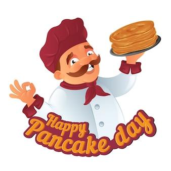 Ilustración divertida del día del panqueque con chef de cocina de dibujos animados
