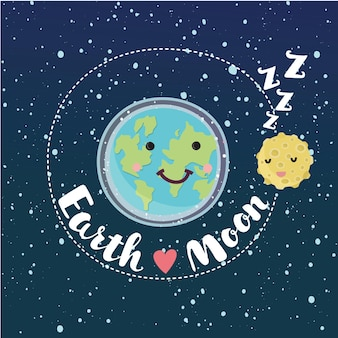 Ilustración divertida de dibujos animados de cute earth and moon gira en órbita.